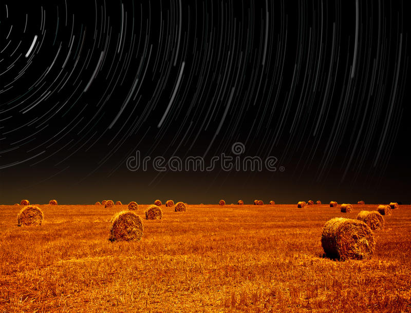 Download Night Landscape Of Farm Field Stock Image - Image of haystack, bales: 26501235