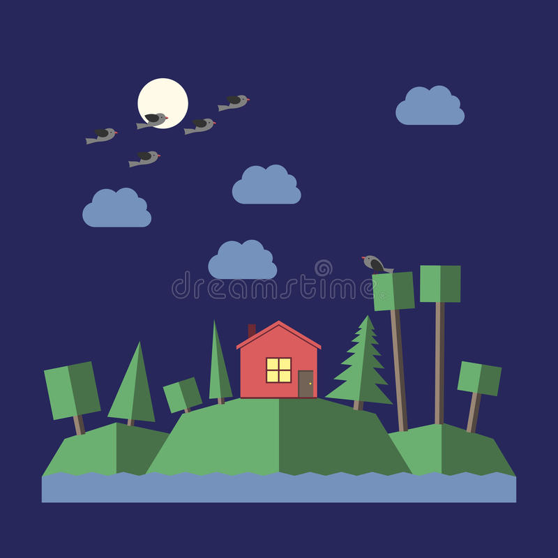 Night landscape flat style. Night landscape with small house, green hills, various trees, river, clouds, moon and birds. Flat style. EPS 10 vector illustration vector illustration