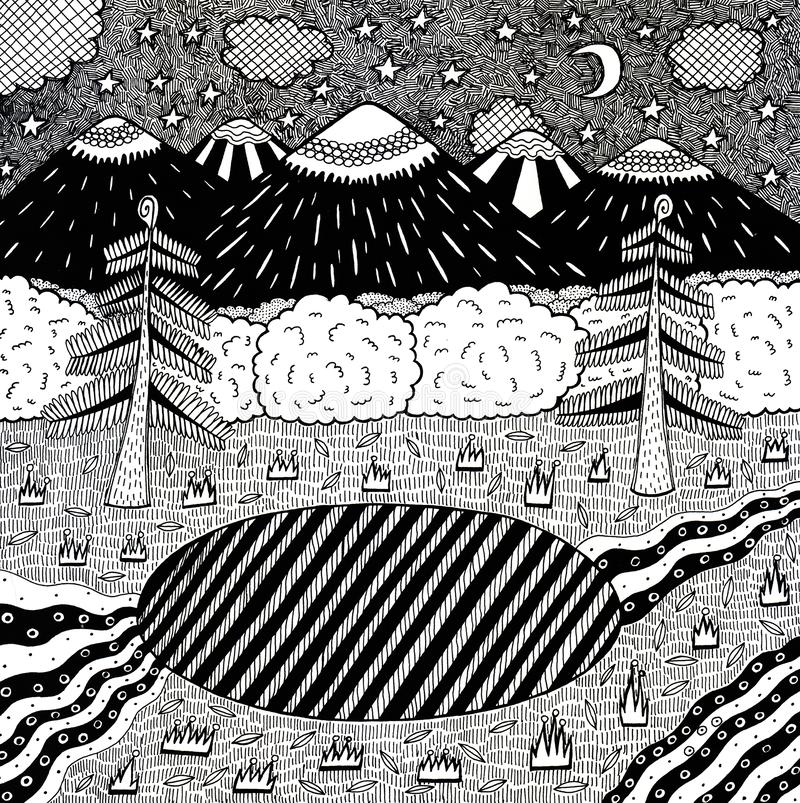 Night landscape with night forest, lake, trees, mountains, river. Hand drawn ink illustration. Coloring page for adults. Raster. Artwork stock illustration