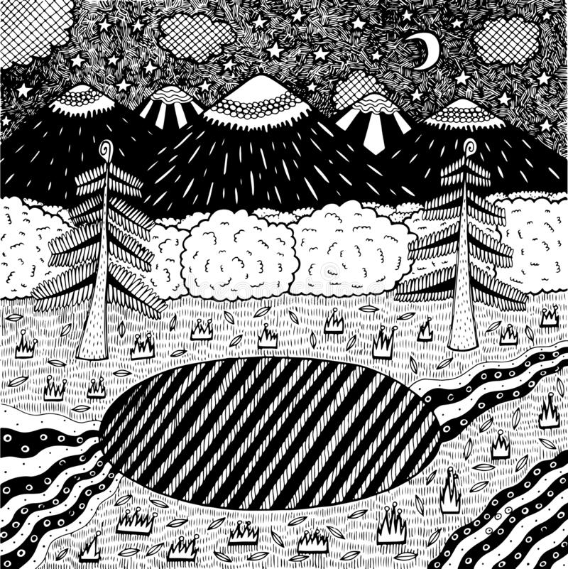 Night landscape with night forest, lake, trees, mountains, river. Hand drawn ink illustration. Coloring page for adults. Vector stock illustration