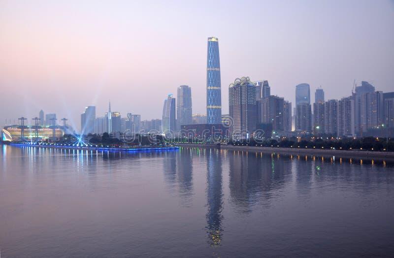 The night landscape of Guangzhou. By th e Pearl River,Zhujiang,beautiful and prosperous stock photo