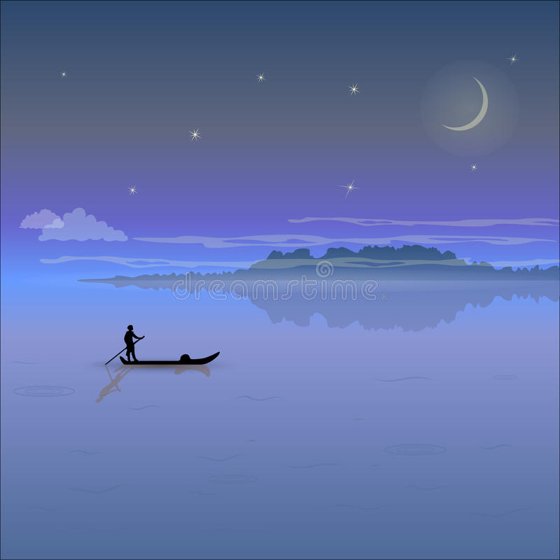 Night landscape with low mountains and starry sky royalty free illustration
