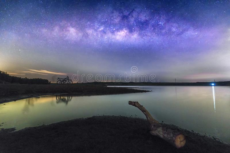 Night landscape with Milky Way at sky stock photos