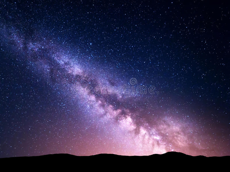 Night landscape with Milky Way. Starry sky, Universe stock photography