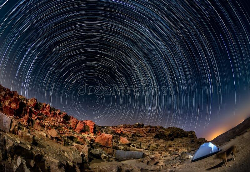 Night landscape in the Negev desert. Israel. Interval shooting stock image