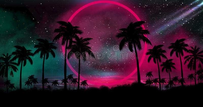 Night landscape with palm trees, against the backdrop of a neon sunset, stars. Silhouette coconut palm trees on beach at sunset. stock illustration