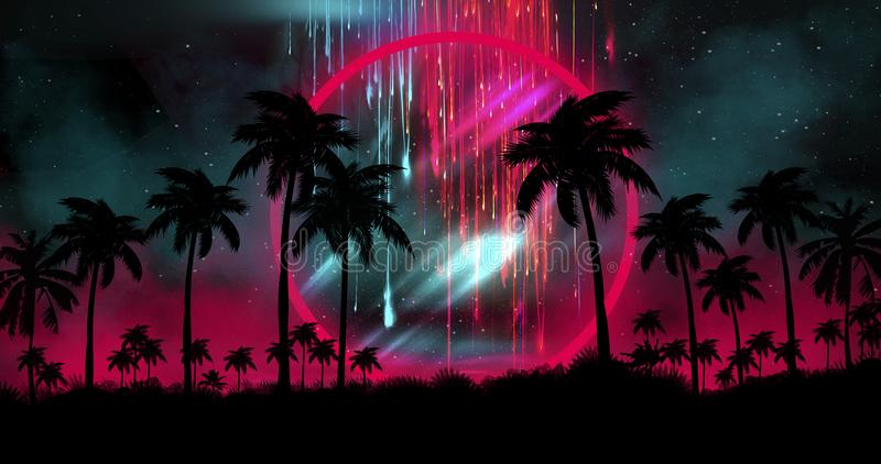 Night landscape with palm trees, against the backdrop of a neon sunset, stars. Silhouette coconut palm trees on beach at sunset. vector illustration