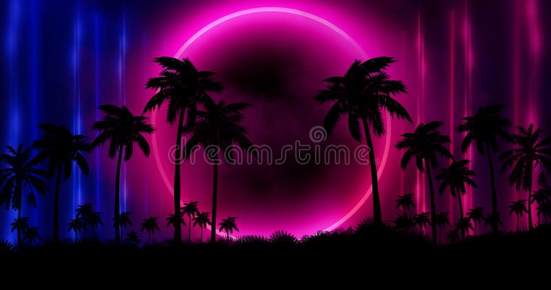Night landscape with palm trees, against the backdrop of a neon sunset, stars. Silhouette coconut palm trees on beach at sunset. royalty free illustration
