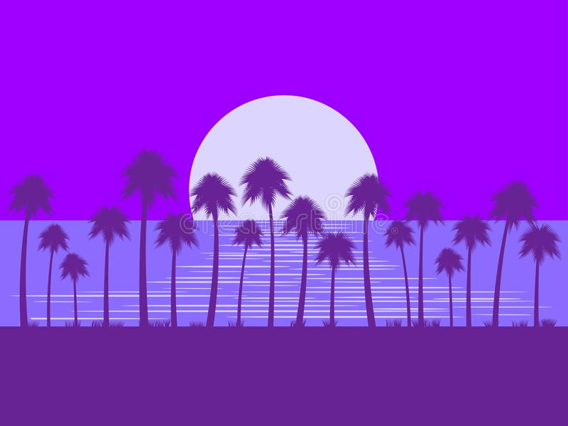 Night landscape with palm trees and moon. Glare on the water. Tropical landscape, beach vacation, romance. Vector. Illustration stock illustration