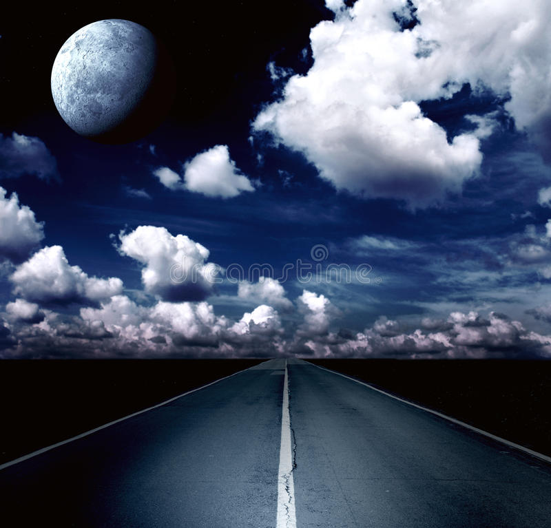 Night landscape with road, clouds and the moon royalty free stock photography