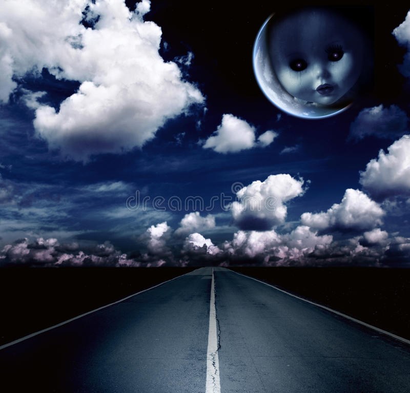 Night landscape with road, clouds and moon royalty free illustration