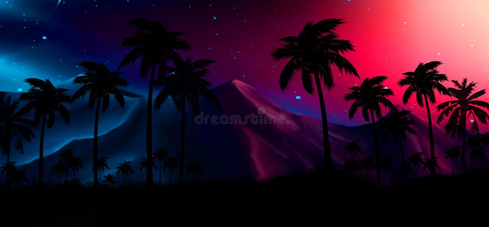 Night landscape with stars, sunset, stars. Silhouette coconut palm trees stock images