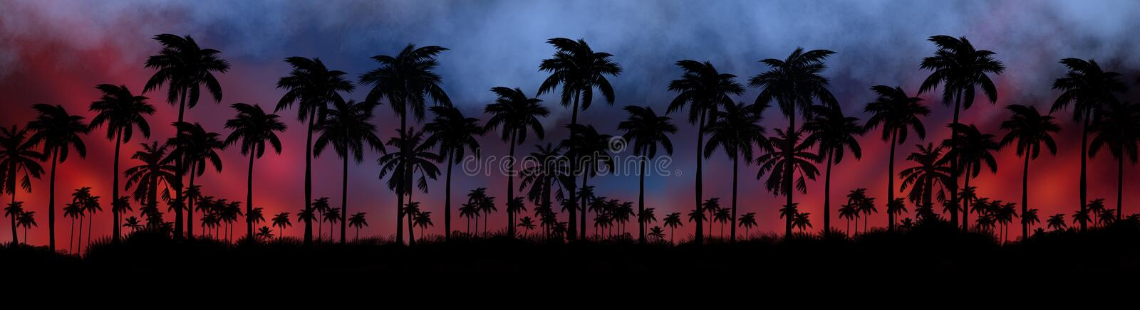Night landscape with stars, sunset, stars. Silhouette coconut palm trees. Vintage tone. Lights of the night city, neon, coast stock images
