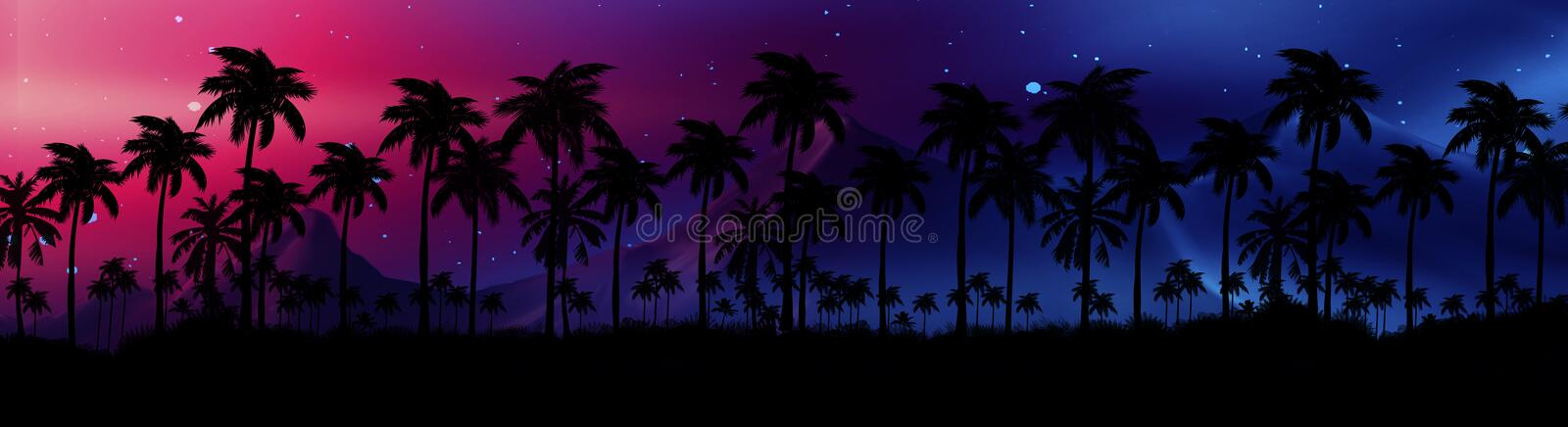 Night landscape with stars, sunset, stars. Silhouette coconut palm trees. Vintage tone. Lights of the night city, neon, coast royalty free illustration