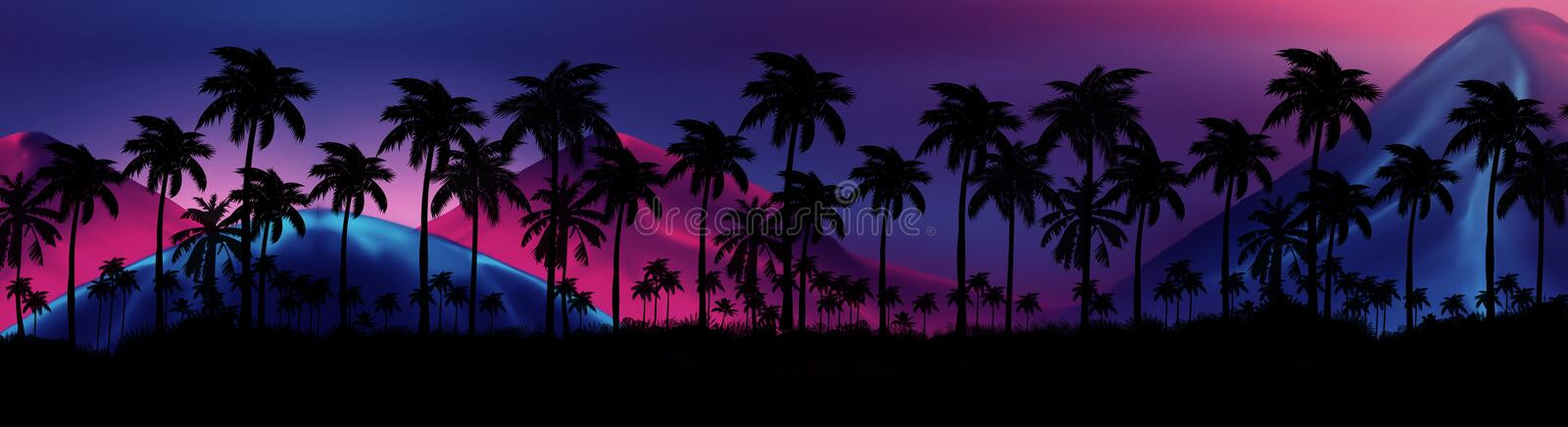 Night landscape with stars, sunset, stars. Silhouette coconut palm trees. Vintage tone. Lights of the night city, neon, coast stock illustration