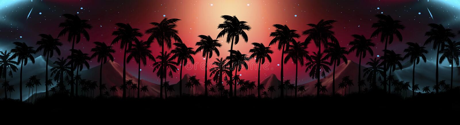 Night landscape with stars, sunset, stars. Silhouette coconut palm trees. Vintage tone. Lights of the night city, neon, coast vector illustration