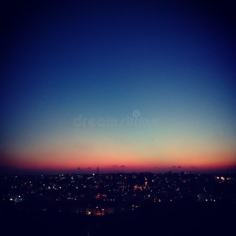 Landscape Lights Vista: Night Landscape Stock Photo