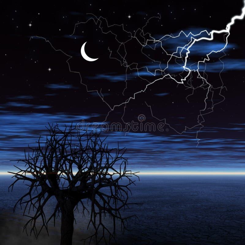 Free Night Landscape With Lightning Stock Photo - 16497340