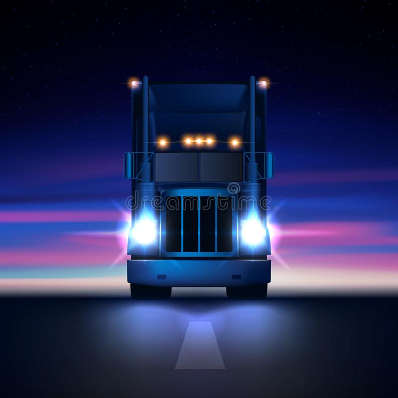 Night large classic big rig semi truck headlights dry van semi riding in dark night road on colorful starry sky background. Night large classic big rig semi royalty free illustration