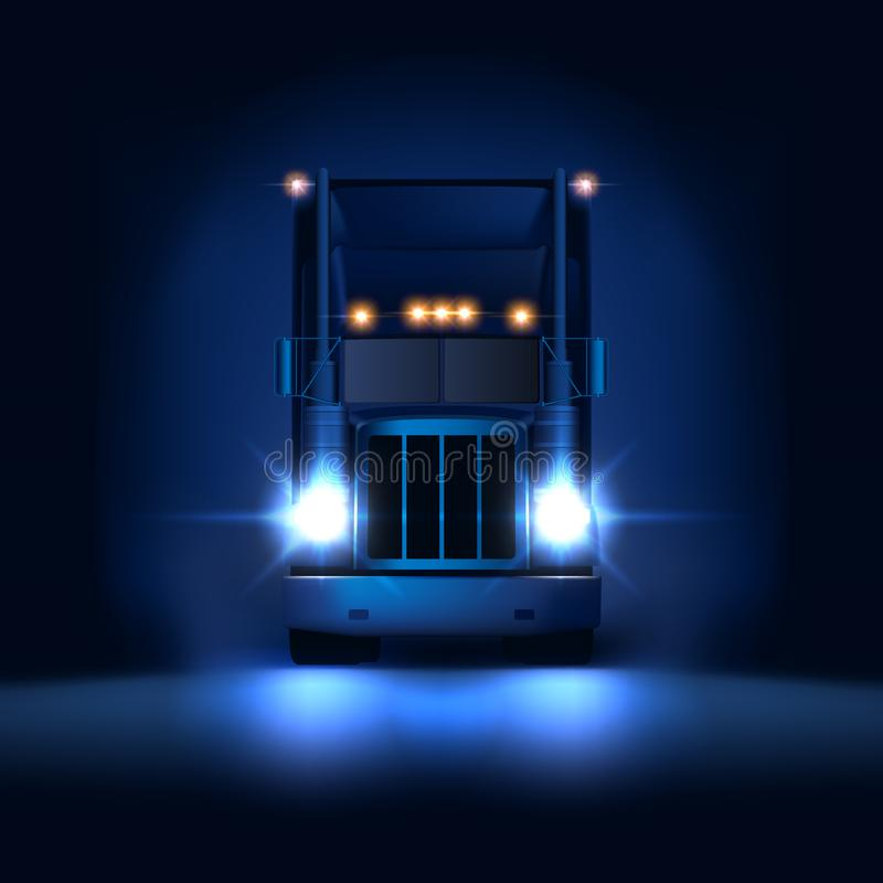 Night large classic big rig semi truck with headlights and dry van semi riding on the dark night background front view stock illustration