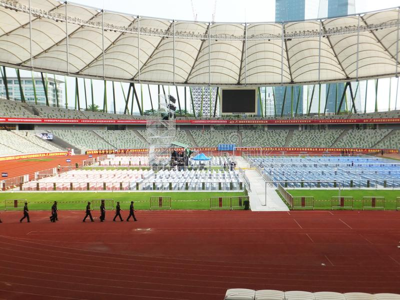 Shenzhen, China: a big concert is held in the stadium. At night, a large concert will be held in the stadium, during the day, the stage sound effect adjustment stock photo