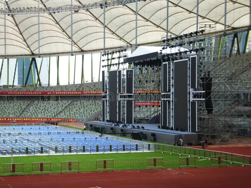 Shenzhen, China: a big concert is held in the stadium. At night, a large concert will be held in the stadium, during the day, the stage sound effect adjustment stock photos