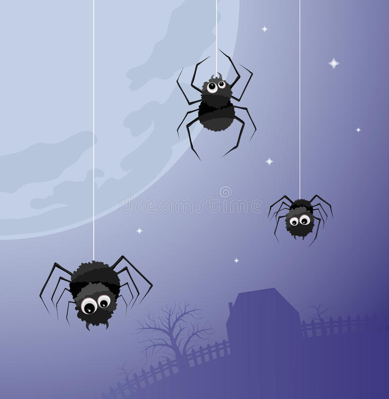 Night life. Illustration of three spiders on the background of a large moon and home vector illustration