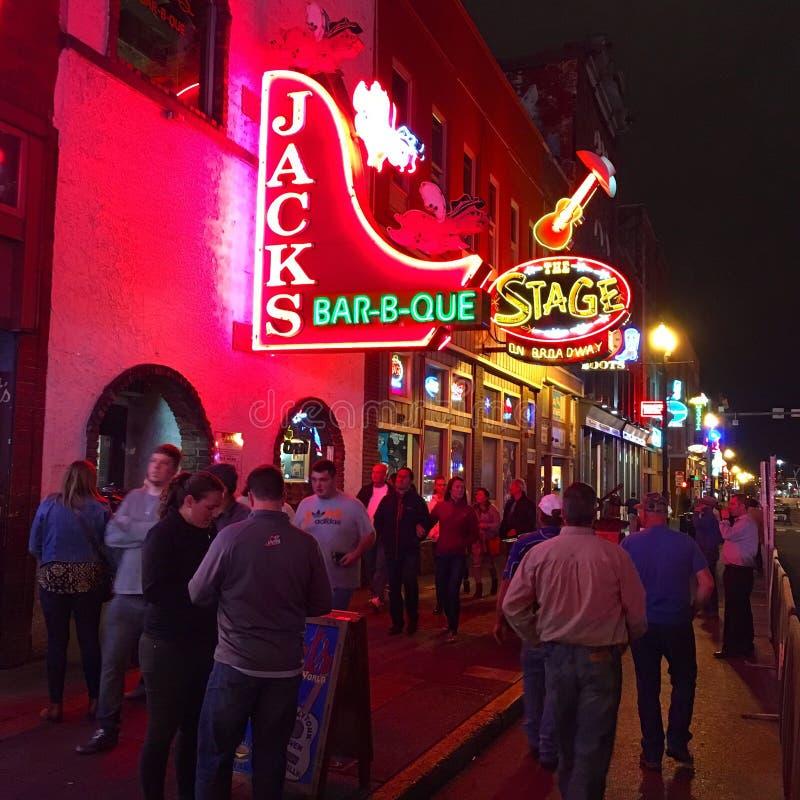 Night life on Broadway, Nashville stock photo