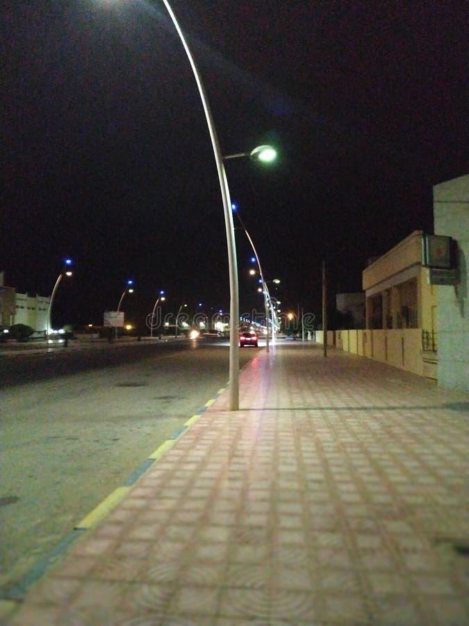 Night life in Cabo Bojador. Urban, street, lonely, road stock image