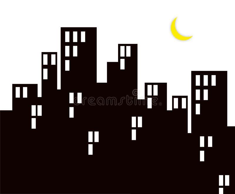 Download Night life of city stock illustration. Image of moon, windows - 2618905