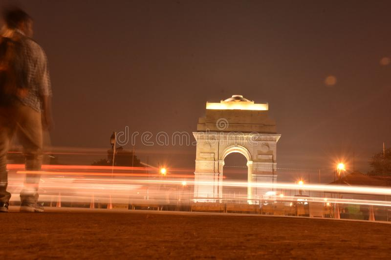 Night Life in Delhi. Night life delhi new india indian gate light travel park outdoor asia city road lite style discover wallpaper illustration background stock image