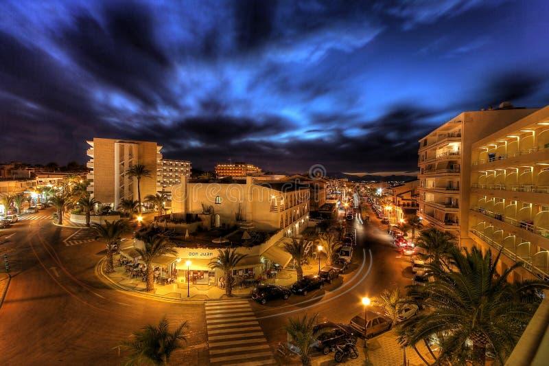 Night life on majorca. With wonderfully blue sky royalty free stock images