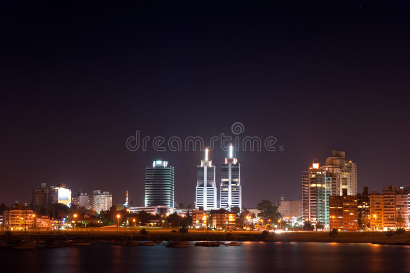 Night life of Montevideo town royalty free stock image