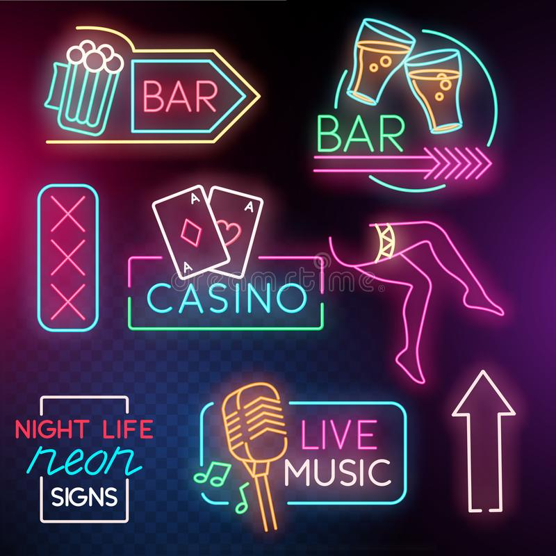 Night Life Neon Light Signs stock illustration