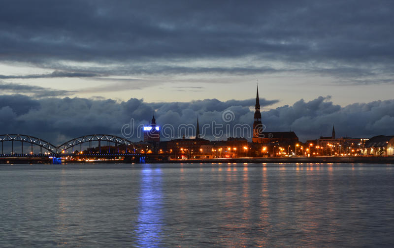 Night life in old Riga. royalty free stock photo