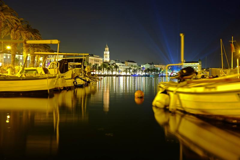 Night life in Split city in Croatia. royalty free stock photography