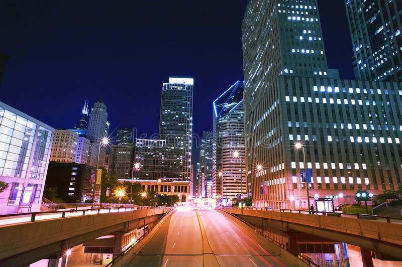 NIght Life Traffic. In the Big American City. Chicago, Illinois, USA. NIght Time Long Exposure Photography. Wide Angle Photography stock image