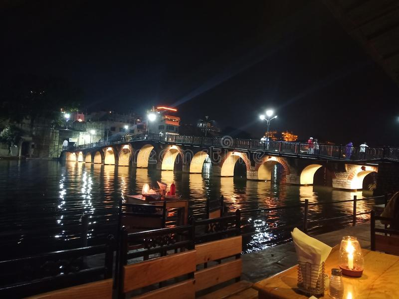 Night Life in Udaipur royalty free stock image