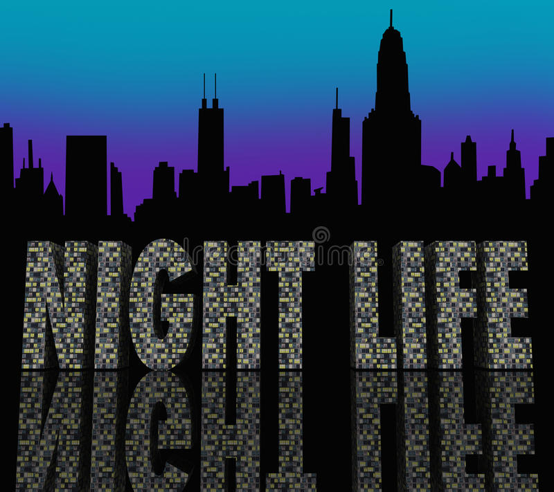 Night Life Words Building City Skyline Stock Images