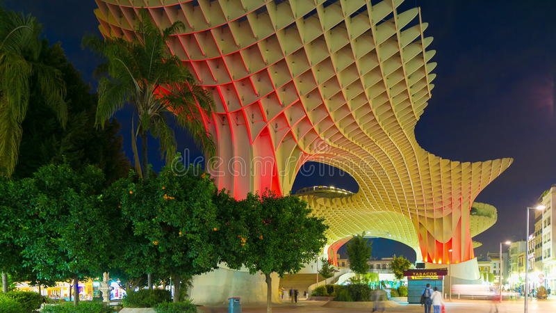 Night Light Colored Mandarin Tree View On Metropol Parasol 4k Time Lapse Spain Stock Footage Video Of Roof Metropol 51977382
