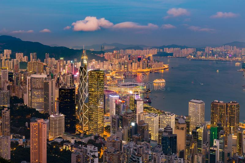 Night light Hong Kong central business downtown. Cityscape background royalty free stock photography