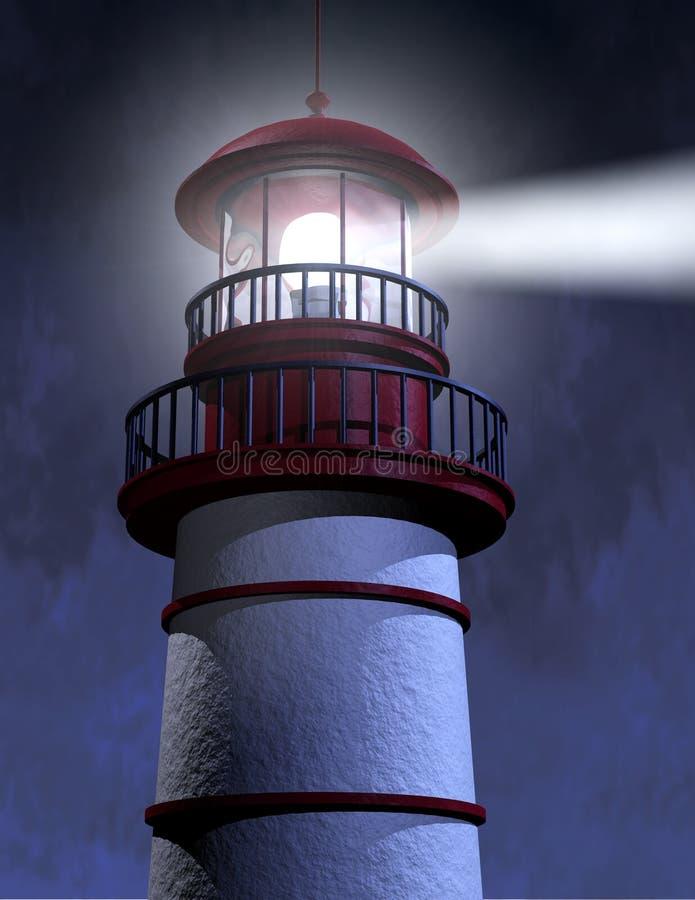 Night Lighthouse Beam royalty free illustration