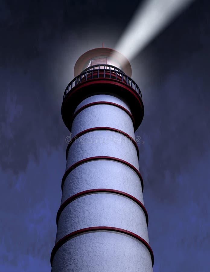 Night Lighthouse Beam vector illustration