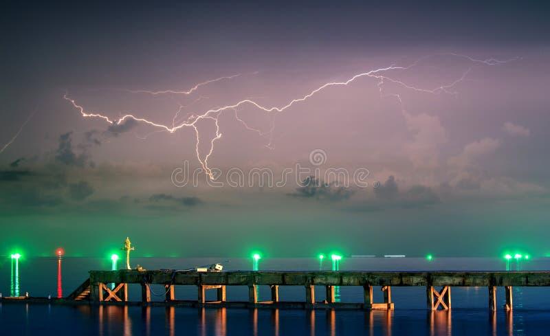 Night lightnings royalty free stock photography