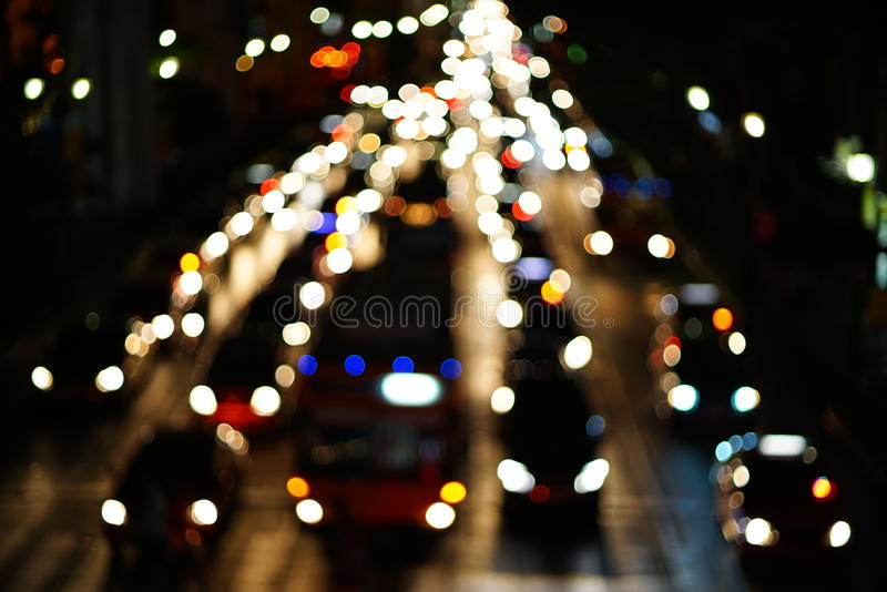 Night lights of the big city. Blurred Photo bokeh royalty free stock image