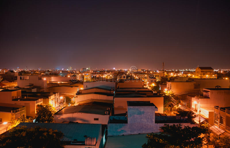 Night lights in down town midnight stock image