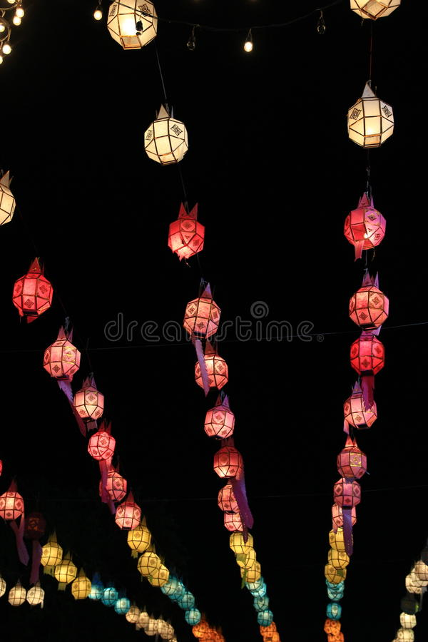 Night lights festival in Thailand. royalty free stock photography