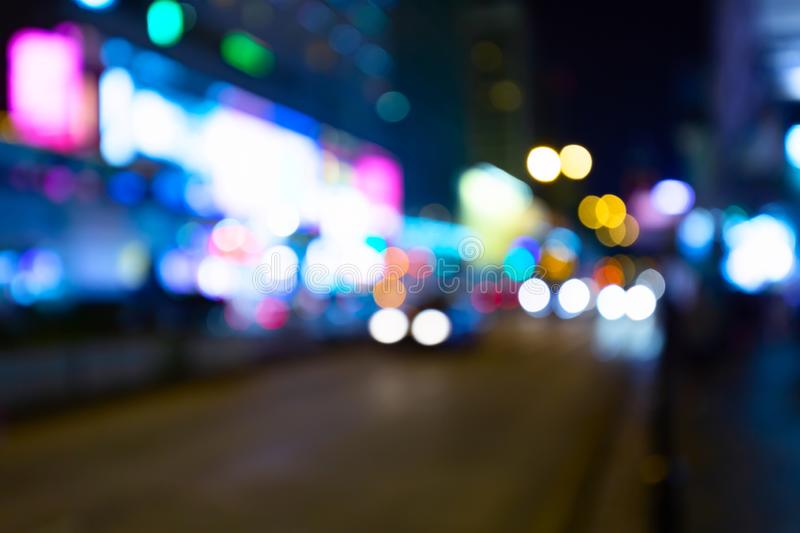 Night lights of Hong Kong. Abstract blurred city background.  stock photos