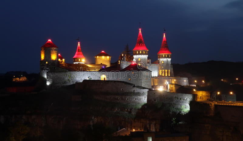 Night lights of Kamianets-Podilskyi castle royalty free stock image