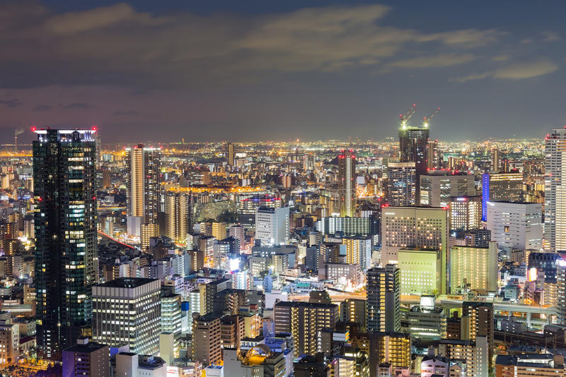 Night lights, Osaka central business downtown. Aerial view, Japan stock photos